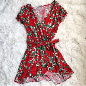 Zara Red Floral Wrap Mini Dress